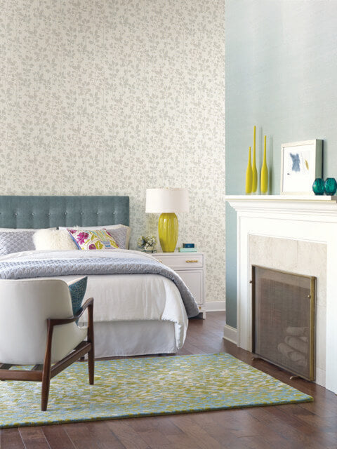 Sprig Wallpaper in Lily from the Moderne Collection by Stacy Garcia for York Wallcoverings