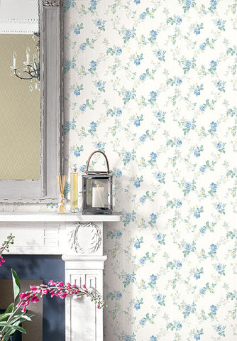 Spring Trail Wallpaper in True Blue from the Spring Garden Collection by Wallquest