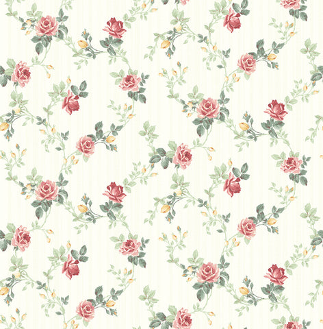 Spring Trail Wallpaper in Classic Rose from the Spring Garden Collection by Wallquest