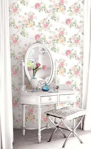 Springtime Trail Wallpaper in Sunny Rose from the Spring Garden Collection by Wallquest