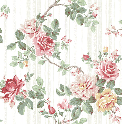 Springtime Trail Wallpaper in Classic Rose from the Spring Garden Collection by Wallquest