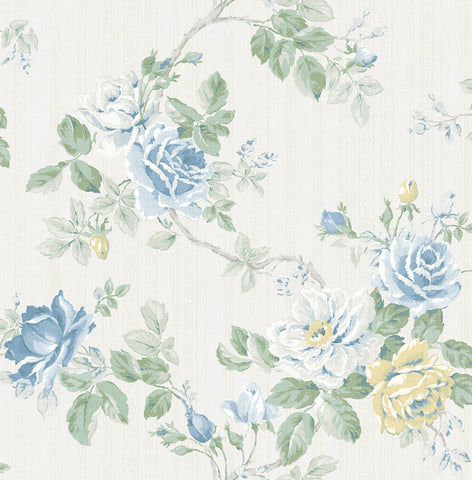 Springtime Trail Wallpaper in True Blue from the Spring Garden Collection by Wallquest