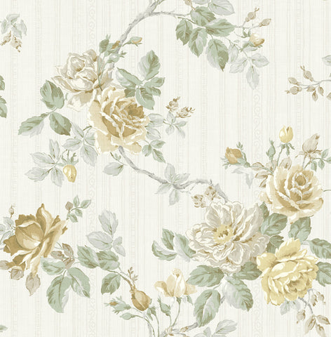 Springtime Trail Wallpaper in Yellow and Green from the Spring Garden Collection by Wallquest
