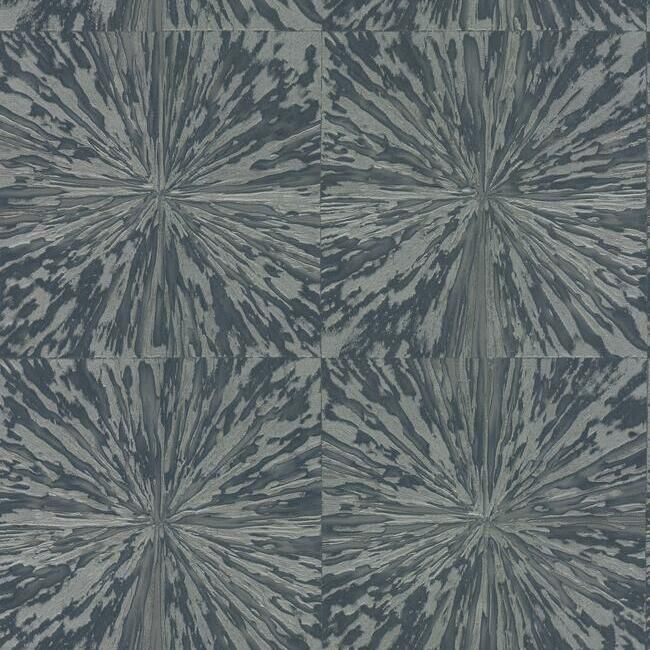 Sample Squareburst Wallpaper in Grey and Navy by Antonina Vella for York Wallcoverings