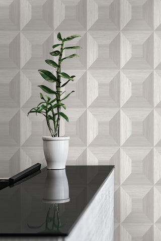 Squared Away Geometric Wallpaper in Birch from the More Textures Collection by Seabrook Wallcoverings