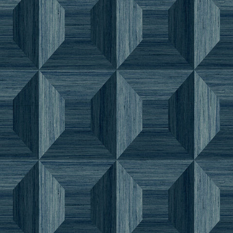 Squared Away Geometric Wallpaper in Blue from the More Textures Collection by Seabrook Wallcoverings