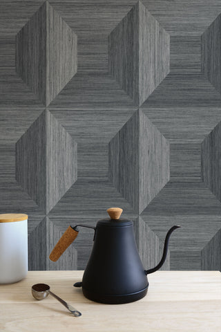 Squared Away Geometric Wallpaper in Cove Grey from the More Textures Collection by Seabrook Wallcoverings