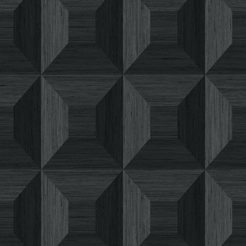 Squared Away Geometric Wallpaper in Ebony from the More Textures Collection by Seabrook Wallcoverings