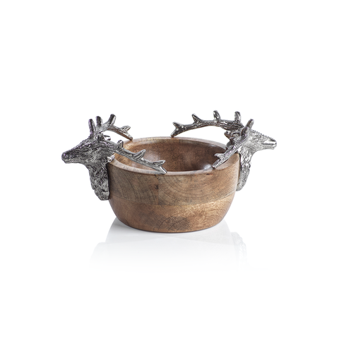 Stag Head Wooden Bowl