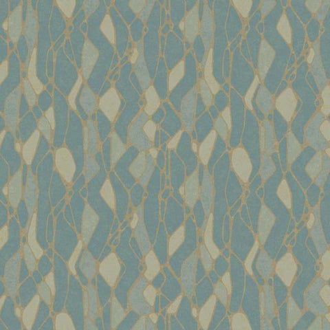 Stained Glass Wallpaper in Blue from the Botanical Dreams Collection by Candice Olson for York Wallcoverings