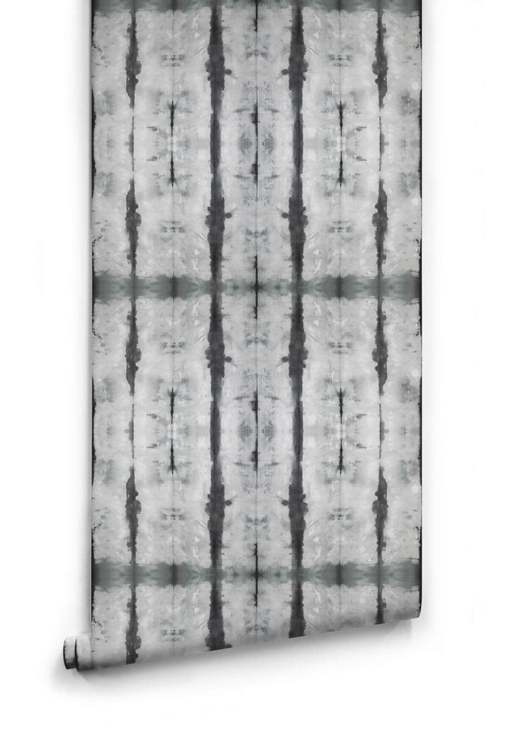 Sample Stalactite Wallpaper in Black and Grey from the Shibori Collection by Milton & King