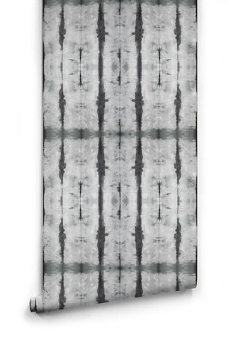 Stalactite Wallpaper in Black and Grey from the Shibori Collection by Milton & King