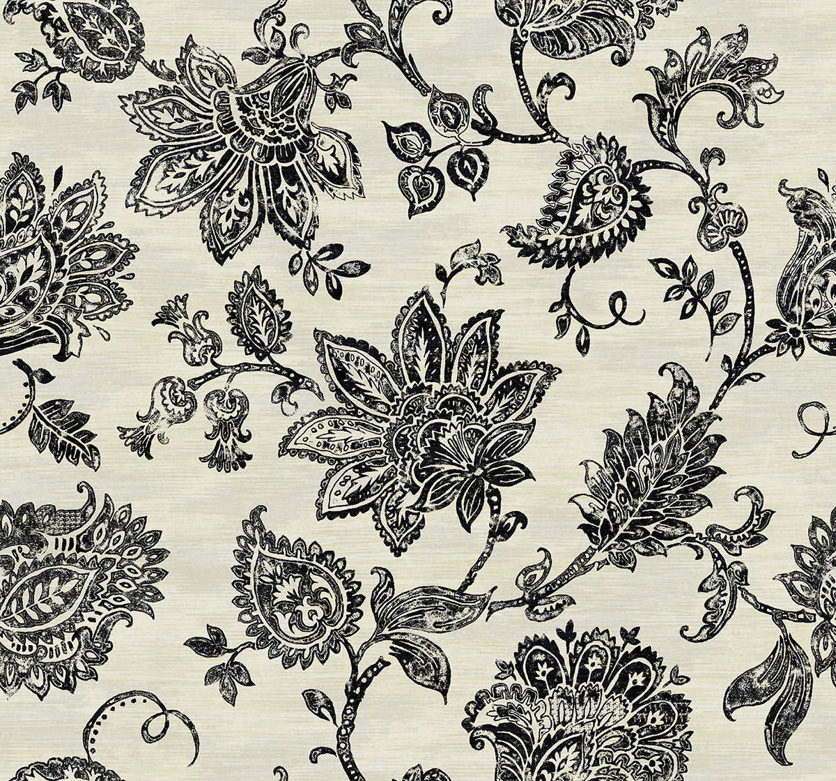 Stamped Jacobean Wallpaper In Onyx From The Nouveau Collection By Wallquest