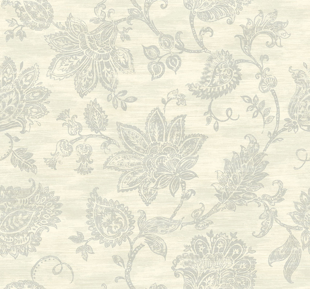 Stamped Jacobean Wallpaper in Oyster from the Nouveau Collection by Wallquest