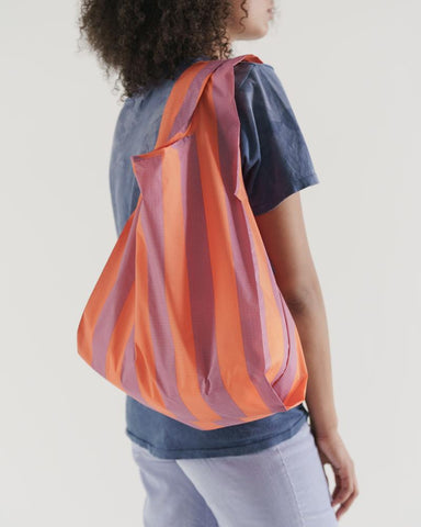 Standard Baggu in Stripe Orange and Mauve