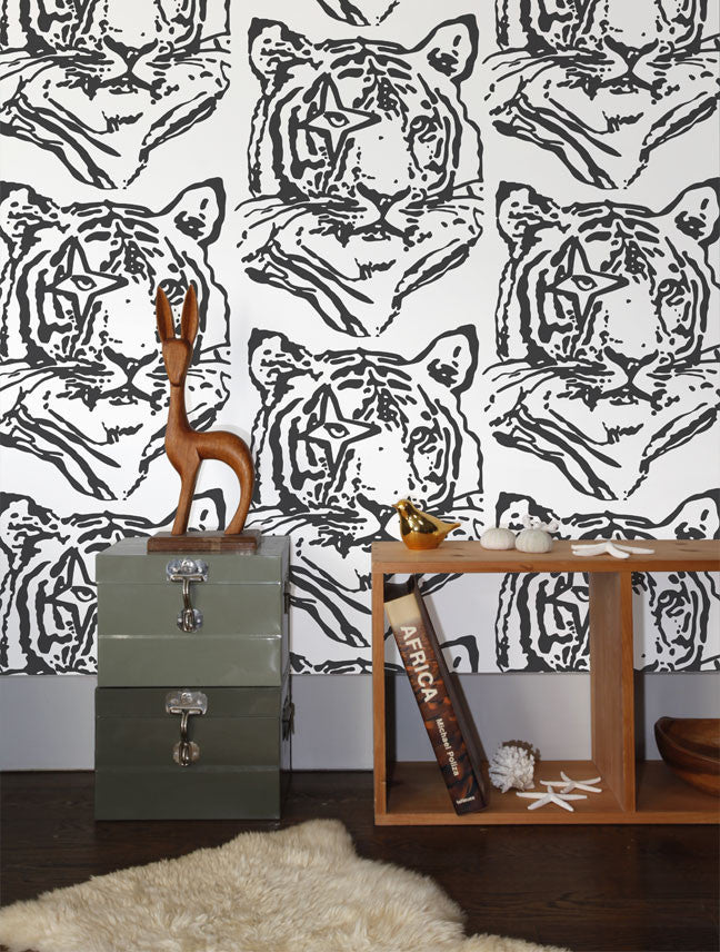 Star Tiger Wallpaper in Charcoal design by Aimee Wilder