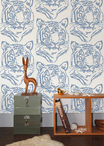 Star Tiger Wallpaper in Denim design by Aimee Wilder