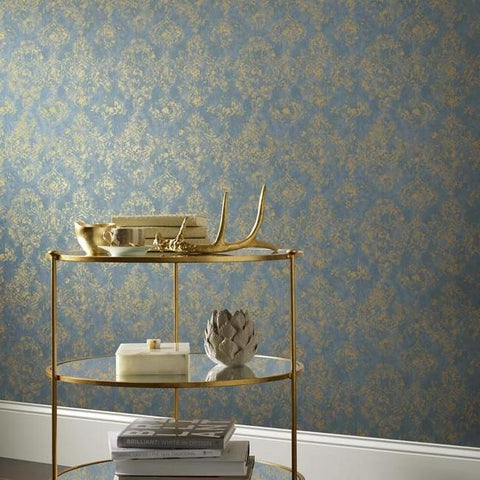 Stargazer Wallpaper in Blue and Gold by Antonina Vella for York Wallcoverings