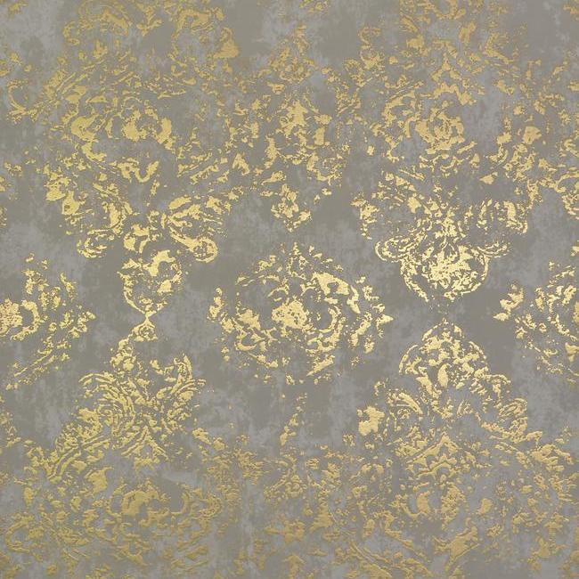 Sample Stargazer Wallpaper in Khaki and Gold by Antonina Vella for York Wallcoverings