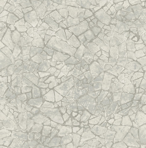 Starkweather Wallpaper in Grey and Silver from the Metalworks Collection by Seabrook Wallcoverings