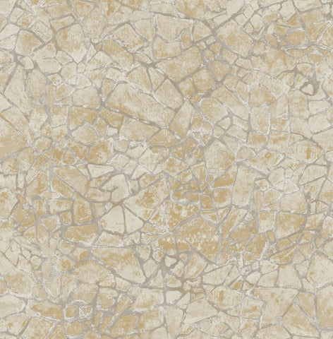 Starkweather Wallpaper in Neutrals and Gold from the Metalworks Collection by Seabrook Wallcoverings