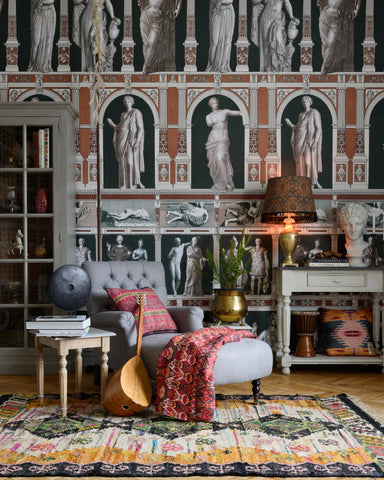 Statues Antique Wallpaper in Orange from the Wallpaper Compendium Collection by Mind the Gap