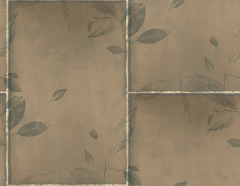 Steel Leaves Wallpaper in Bronze, Gold, and Cream from the Aerial Collection by Mayflower Wallpaper