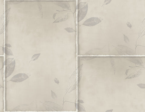 Steel Leaves Wallpaper in Silver, Cream, and Grey from the Aerial Collection by Mayflower Wallpaper