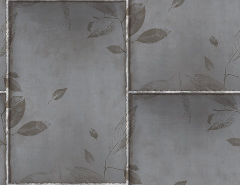 Steel Leaves Wallpaper in Silver, Gunmetal, and Bronze from the Aerial Collection by Mayflower Wallpaper