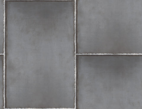 Steel Wallpaper in Silver, Grey, and Gunmetal from the Aerial Collection by Mayflower Wallpaper