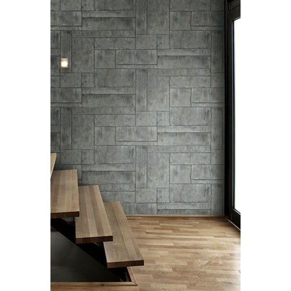 Stirling Wallpaper in Grey and Silver from the Metalworks Collection by Seabrook Wallcoverings