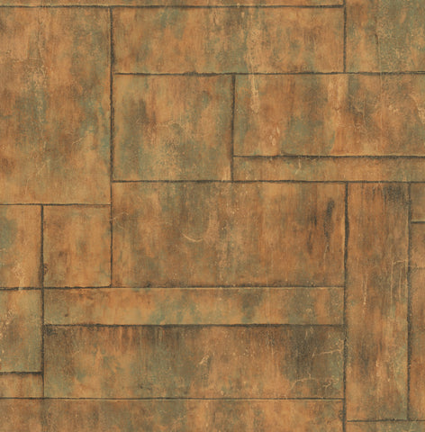 Stirling Wallpaper in Copper and Green from the Metalworks Collection by Seabrook Wallcoverings