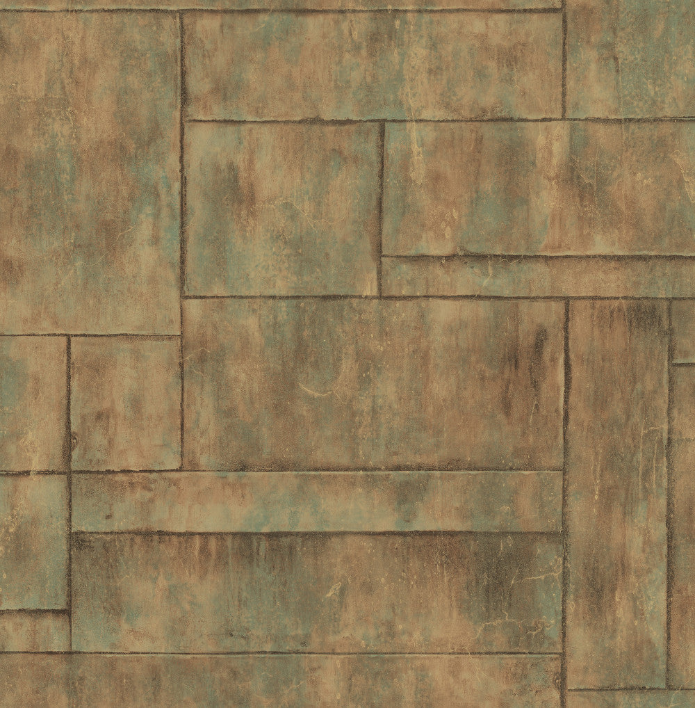 Stirling Wallpaper in Green and Copper from the Metalworks Collection by Seabrook Wallcoverings