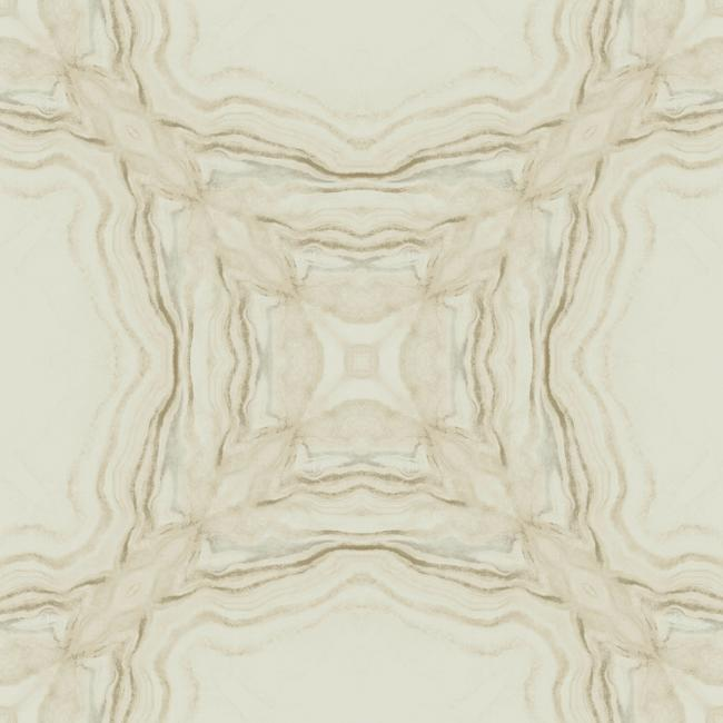 Sample Stone Kaleidoscope Wallpaper in Beige from the Natural Opalescence Collection by Antonina Vella for York Wallcoverings