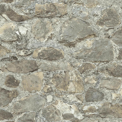Stone Peel & Stick Wallpaper in Grey and Almond by RoomMates for York Wallcoverings