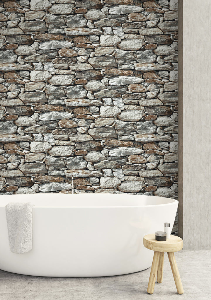 Stone Wall Peel-and-Stick Wallpaper in Grey by NextWall