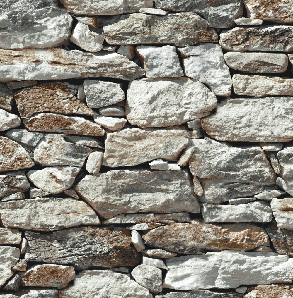 Stone Wall Peel-and-Stick Wallpaper in Grey by NextWall ...