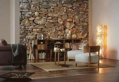 Stone Wall Wall Mural design by Komar for Brewster Home Fashions