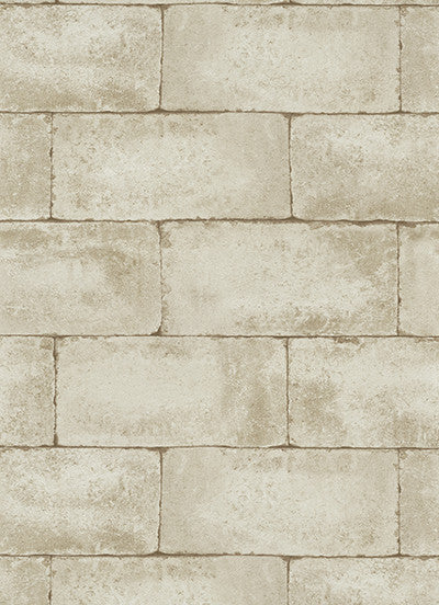 Sample Stone Wall Wallpaper in Beige and Brown design by BD Wall