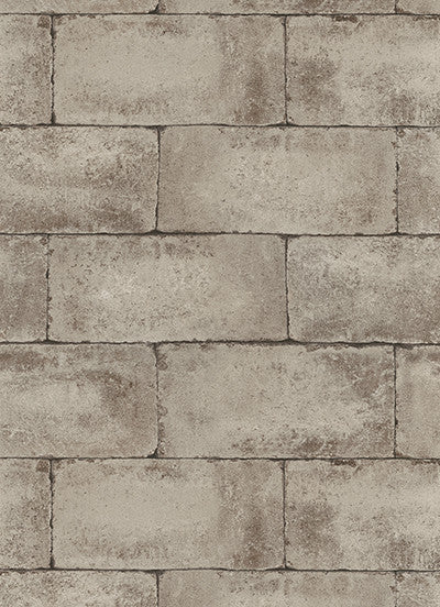 Stone Wall Wallpaper in Brown-Grey design by BD Wall