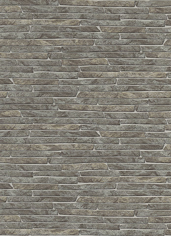 Stone Wall Wallpaper in Grey and Light Brown design by BD Wall