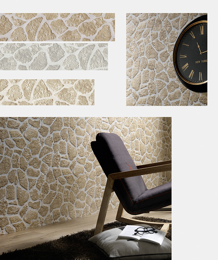 Brown And Grey Decor: Stone Wallpaper In Brown And Grey Design By BD Wall