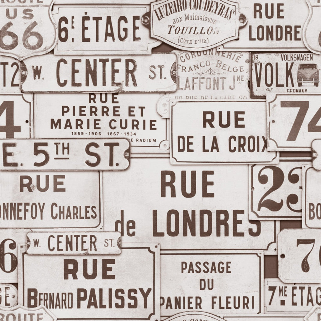 Sample Street Signs Wallpaper in Brown from the Eclectic Collection by Mind the Gap