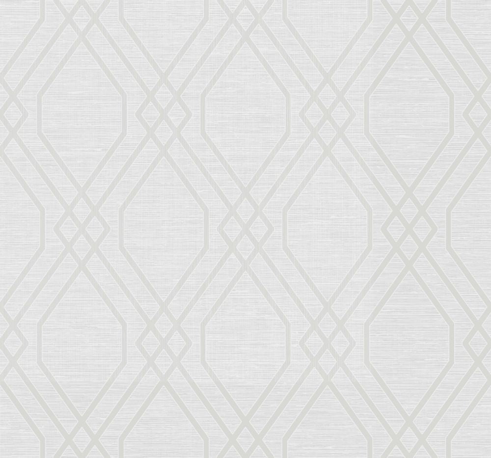 Sample String Diamond Wallpaper in Metallic Pearl from the Casa Blanca II Collection by Seabrook Wallcoverings