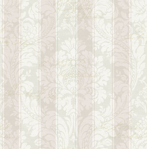 Striped Damask Wallpaper in Blush from the Spring Garden Collection by Wallquest