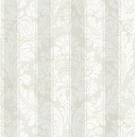 Striped Damask Wallpaper in Dove from the Spring Garden Collection by Wallquest
