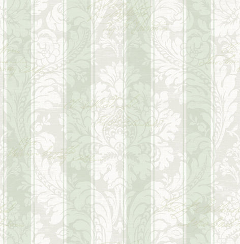 Striped Damask Wallpaper in Grasslands from the Spring Garden Collection by Wallquest