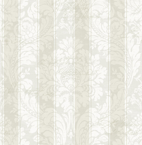 Striped Damask Wallpaper in Soft Neutral from the Spring Garden Collection by Wallquest