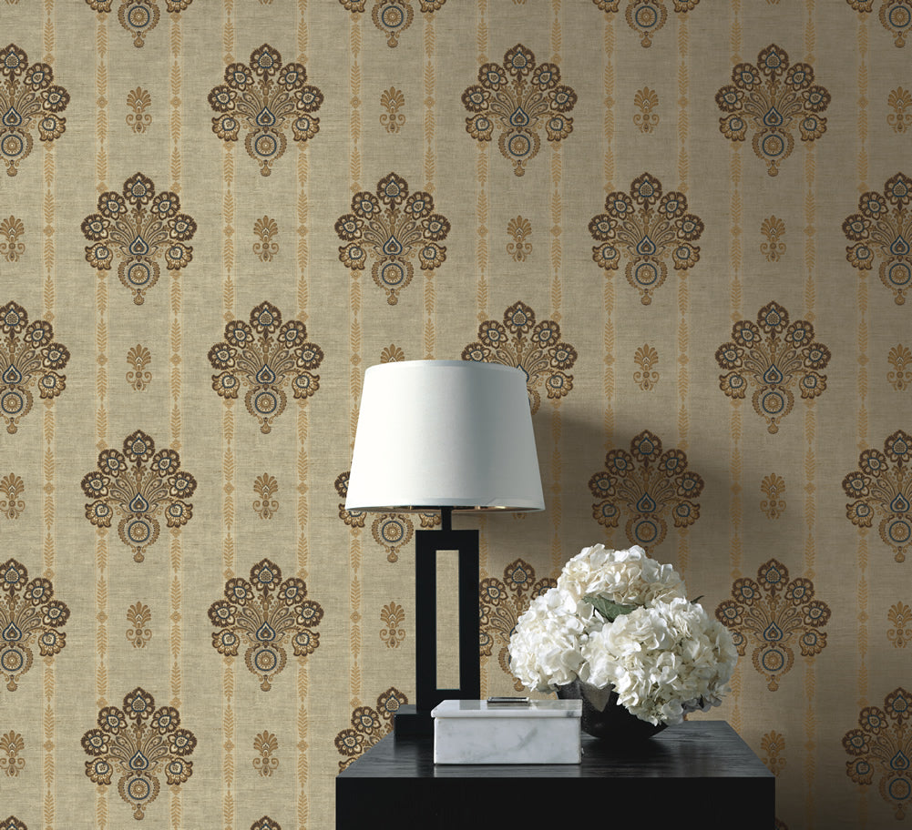 Striped Floral Damask Wallpaper In Warm Brown From The Caspia