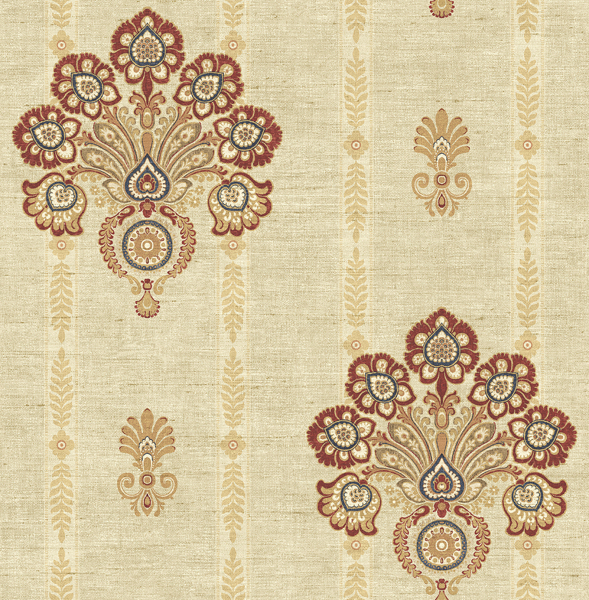 Striped Floral Damask Wallpaper In Red And Gold From The Caspia